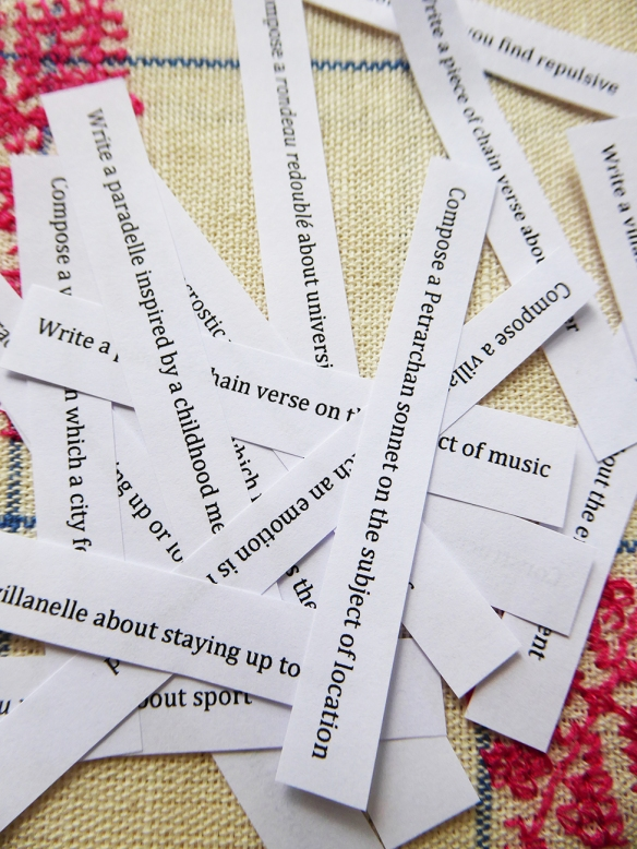 Cut up slips for fortune cookies